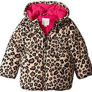 The Children's Place Girls Leopard Puffer Sz 4T